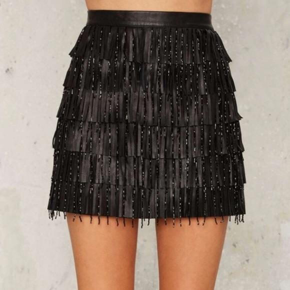45815c6ee7933b MLV Josephine Leather Fringed Beaded Skirt
